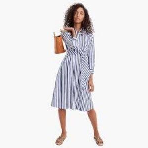 J Crew Striped ShirtDress w/ Tie Waist NWT